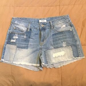 NWOT Kensie Jeans Distressed Patchwork Shorts